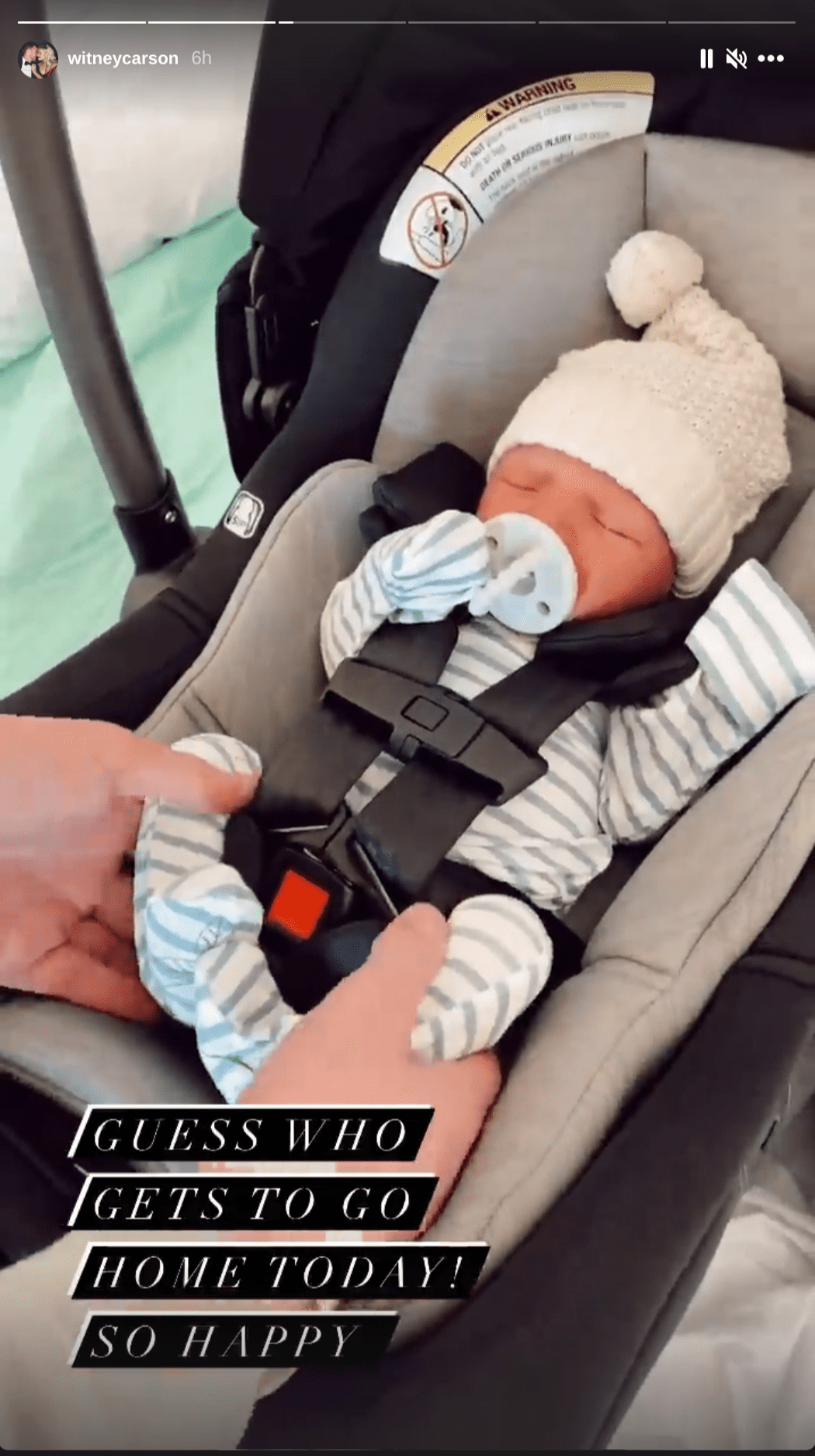Witney Carson is excitedly taking her newborn son home for the first time on January 7, 2020. | Source: Instagram/witneycarson.