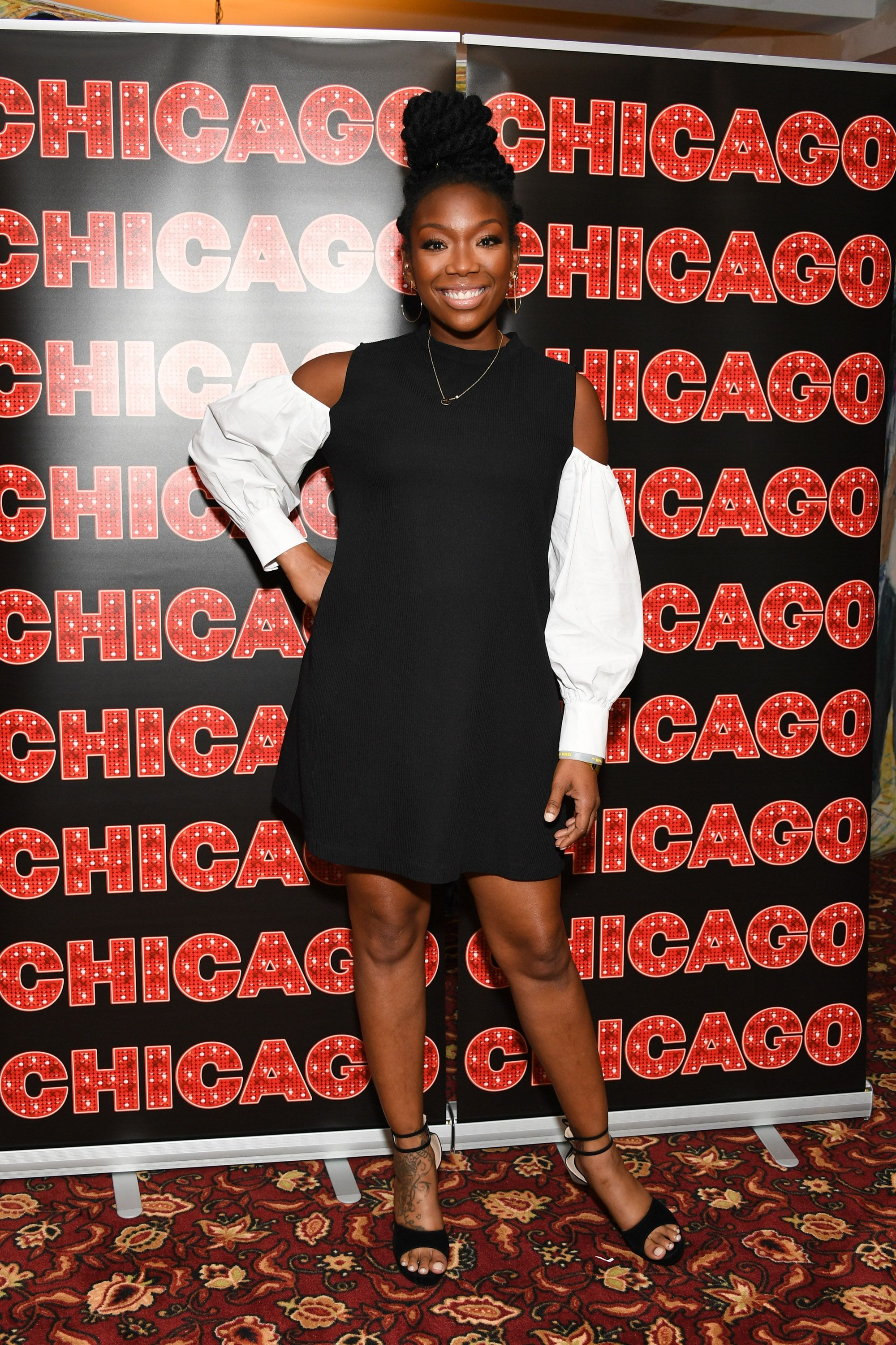"Brandy Norwood attends a press event for her return to Broadway's ""Chicago"" at Sardi's on August 16, 2017 in New York City. 