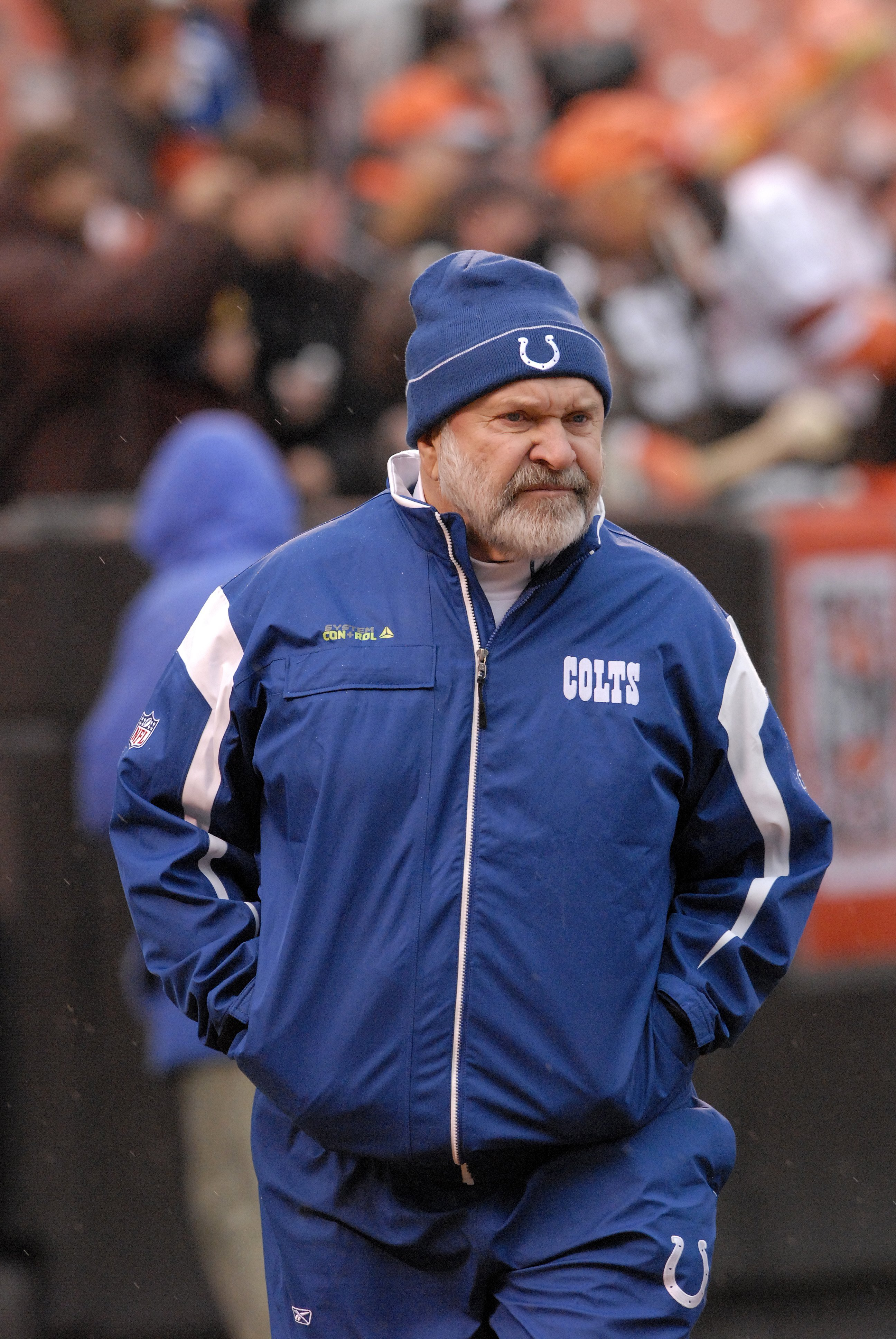 Assistant coach Howard Mudd of the Indianapolis Colts watches pre-game warm ups prior to a game on Sunday, November 30, 2008. | Source: Getty Images.