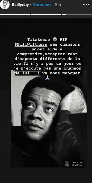 Laeticia Hallyday rendu hommage au Bill Withers. | Photo : Instagram/story/lhallyday
