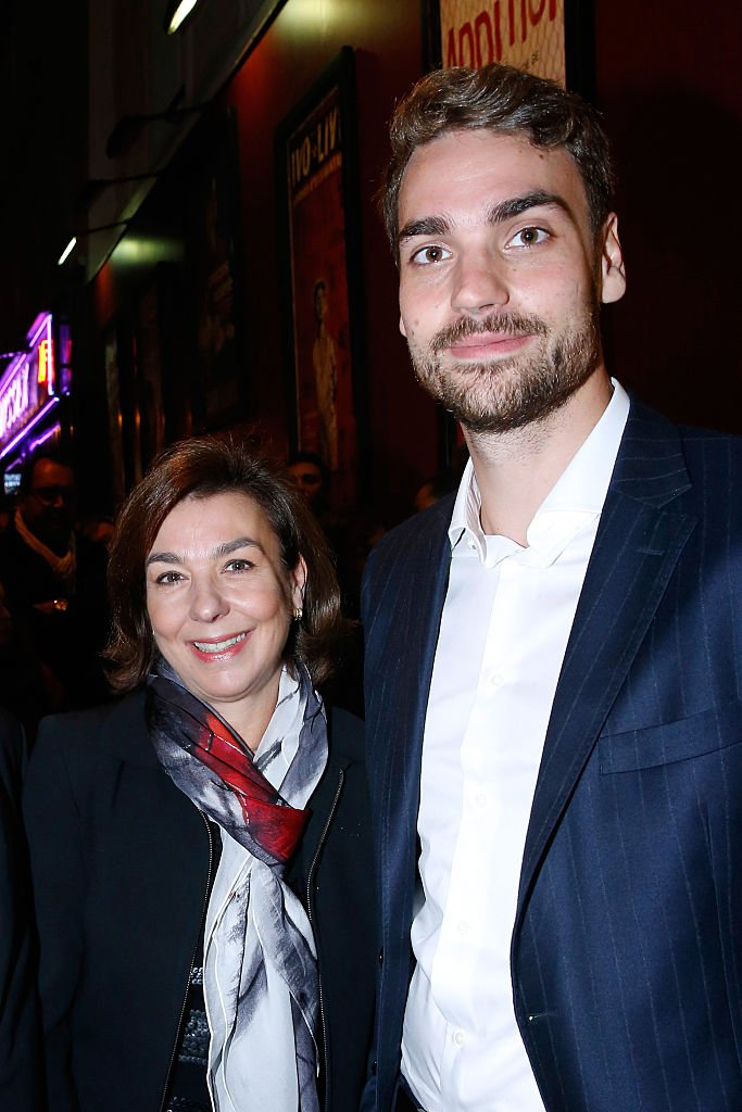 """Son of Yves Montand, Valentin Livi and his mother Carole Amiel attend the """"Ivo Livi ou le destin d'Yves Montand"""" : Theater Play at Theatre de la Gaite Montparnasse on October 11, 2016 in Paris, France.   Photo : Getty Images"""