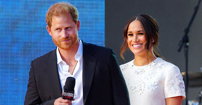 Prince Harry and Meghan Markle speak on stage at Global Citizen Live New York, September 2021 | Source: Getty Images