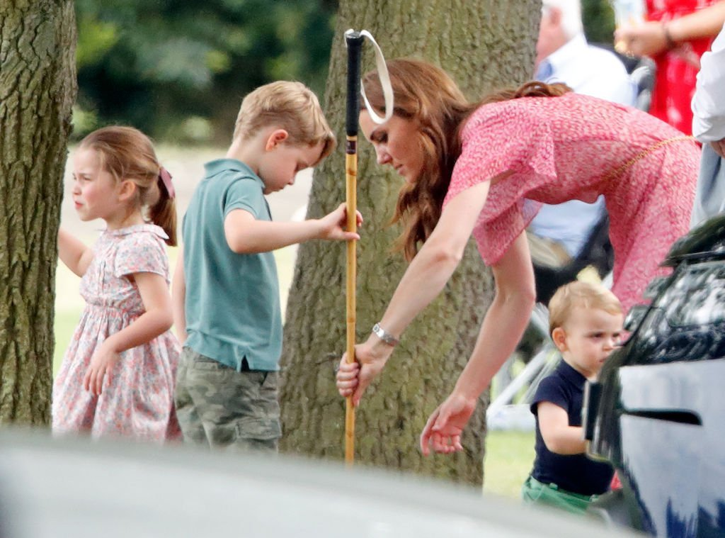 Princess Charlotte of Cambridge, Prince George of Cambridge, Catherine, Duchess of Cambridge and Prince Louis of Cambridge attend the King Power Royal Charity Polo Match, in which Prince William, Duke of Cambridge and Prince Harry, Duke of Sussex were competing for the Khun Vichai Srivaddhanaprabha Memorial Polo Trophy at Billingbear Polo Club | Photo: Getty Images