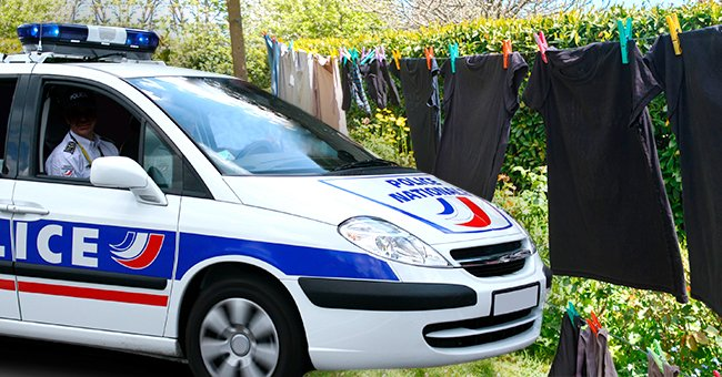 A police car next to a washing line with hung-up laundry.   Source: Shutterstock