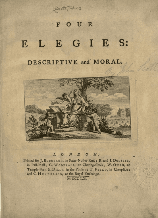 """Front page of """"Four Elegies, Descriptive and Moral"""" by John Scott of Amwell, published 1760   Source: Wikimedia Commons"""