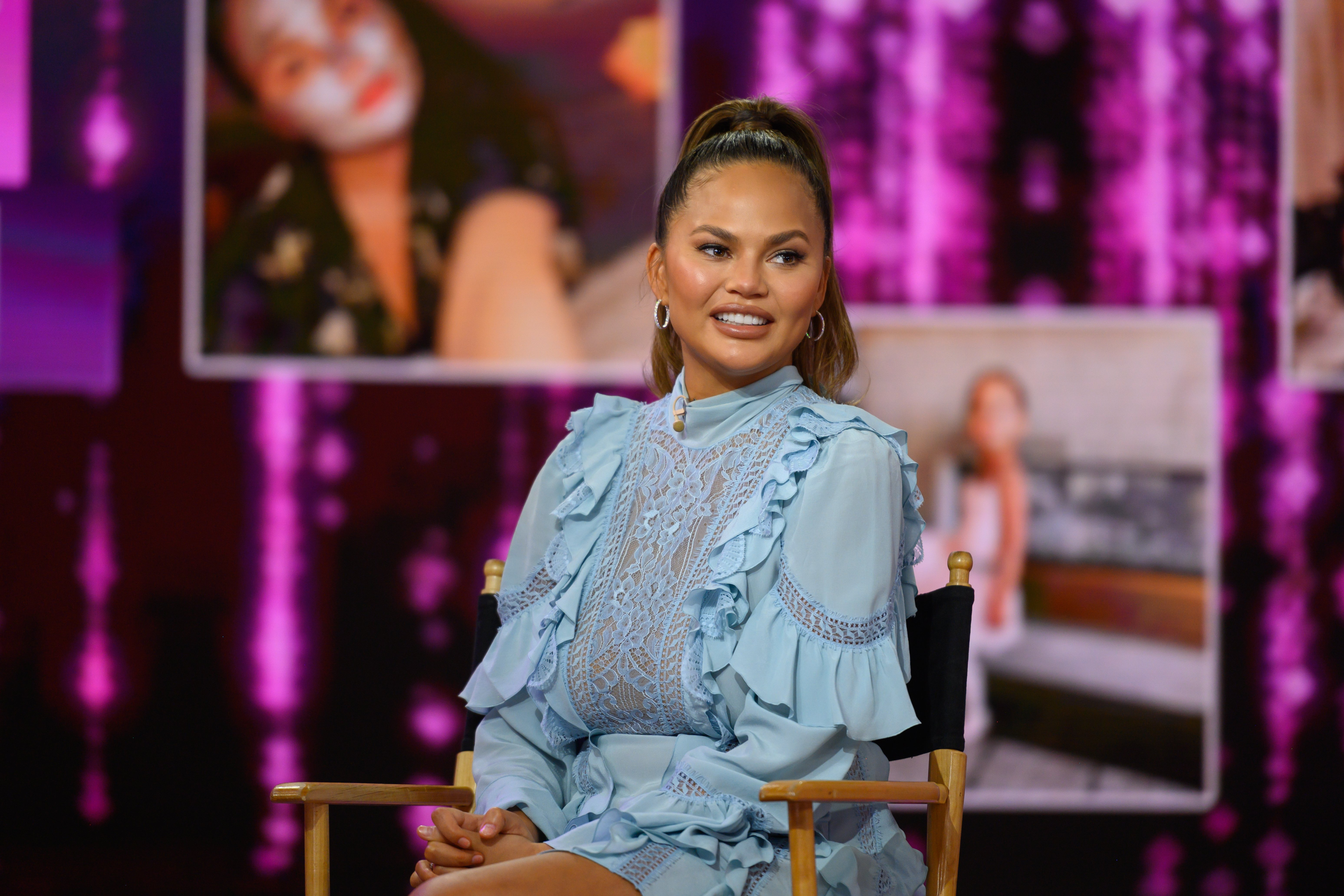 """Chrissy Teigen on the set of  NBC's """"Today"""" on Wednesday, February 19, 2020.   Source: Getty Images"""
