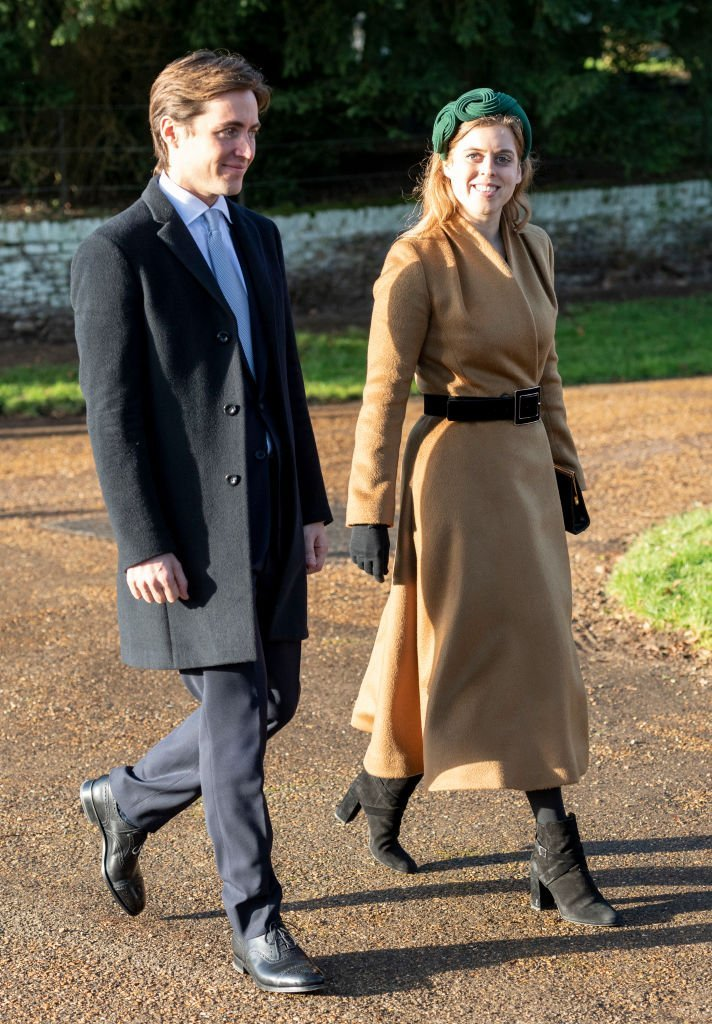Princess Beatrice and Edoardo Mapelli Mozziconi attend the Christmas Day Church service at Church of St Mary Magdalene on the Sandringham estate on December 25, 2019. | Photo: Getty Images