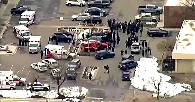 An aerial view of the crime scene from the Colorado supermarket shooting, March 22, 2021. | Photo: Twitter/ABC7NY