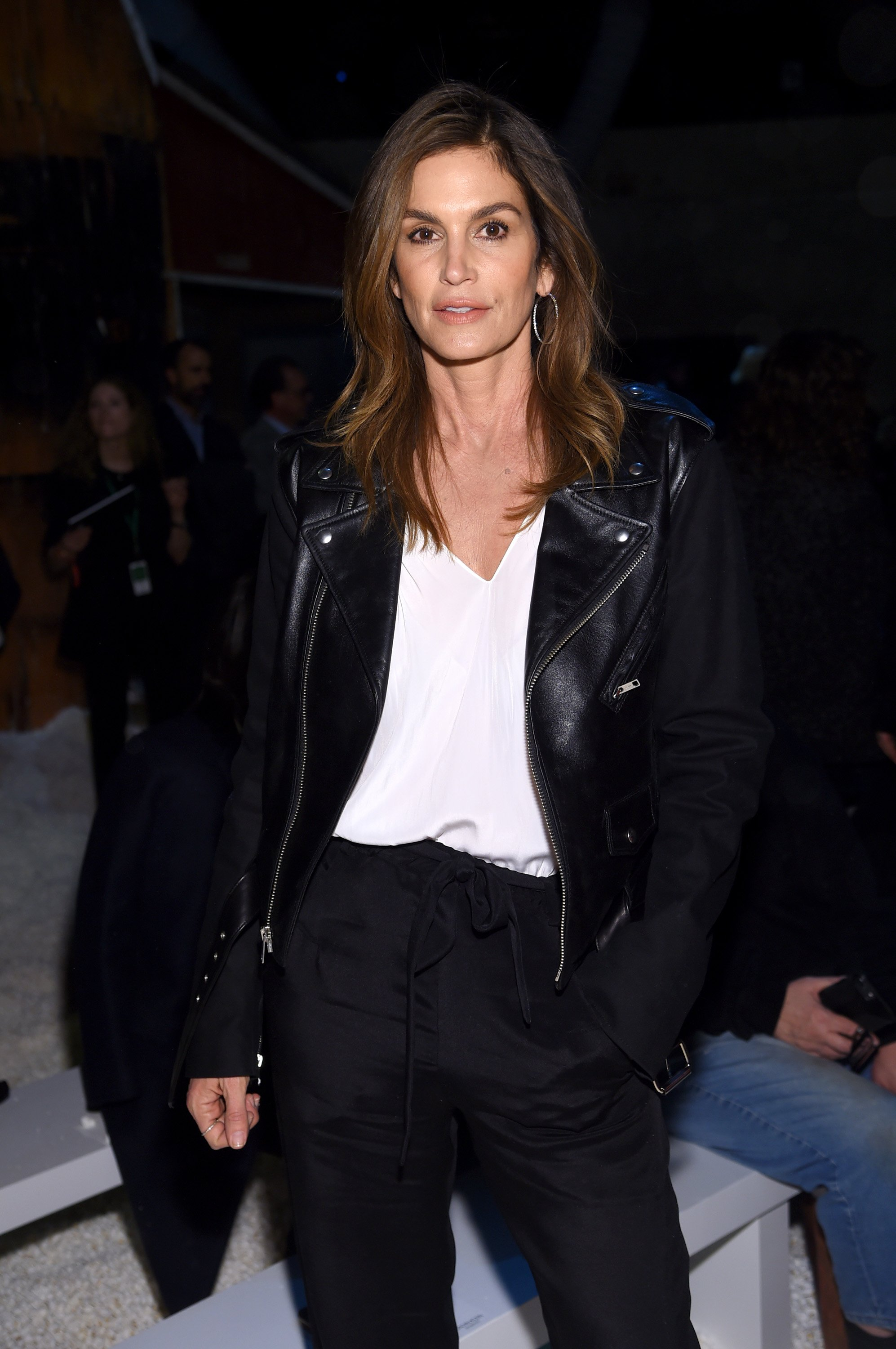Cindy Crawford attends the Calvin Klein Collection front row during New York Fashion Week at New York Stock Exchange on February 13, 2018, in New York City. | Source: Getty Images.