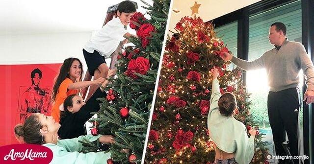 Jennifer Lopez comparte adorables fotos de su familia decorando su hogar