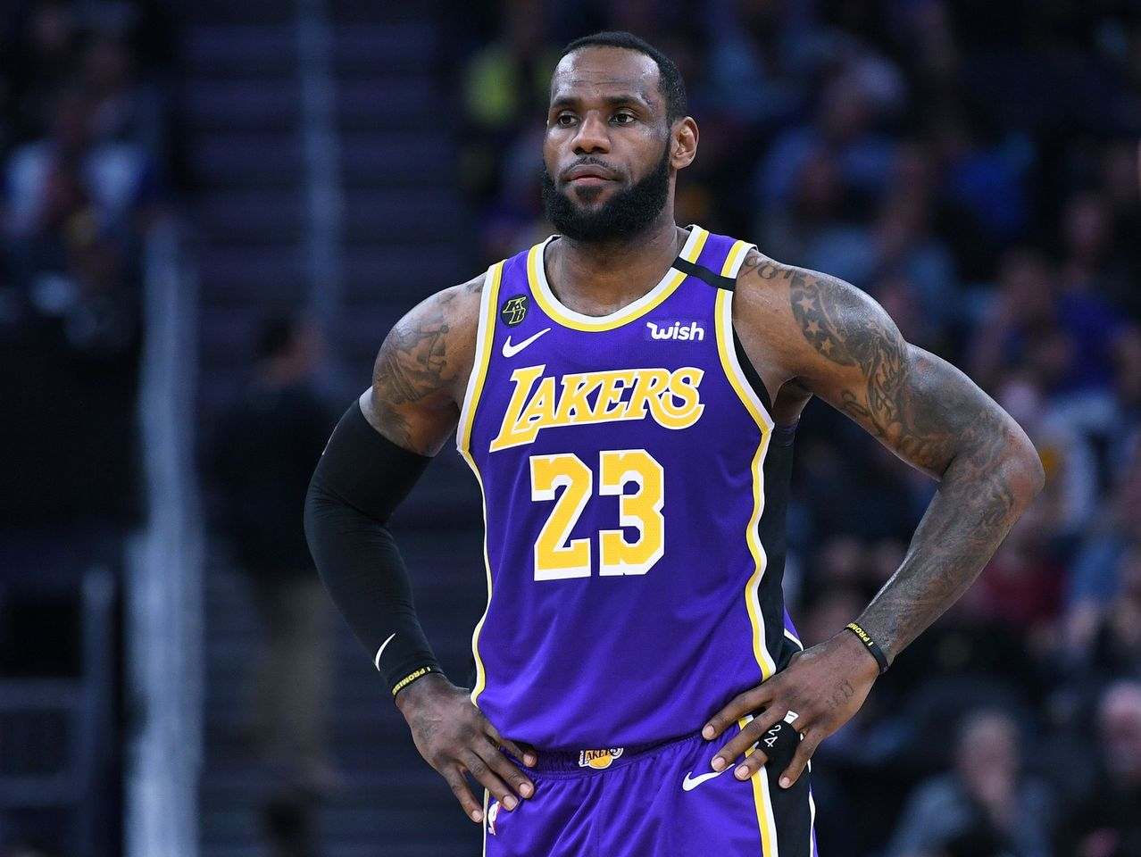 LeBron James #23 of the Los Angeles Lakers looks on against the Golden State Warriors during an NBA basketball game at Chase Center on February 08, 2020. | Source: Getty Images