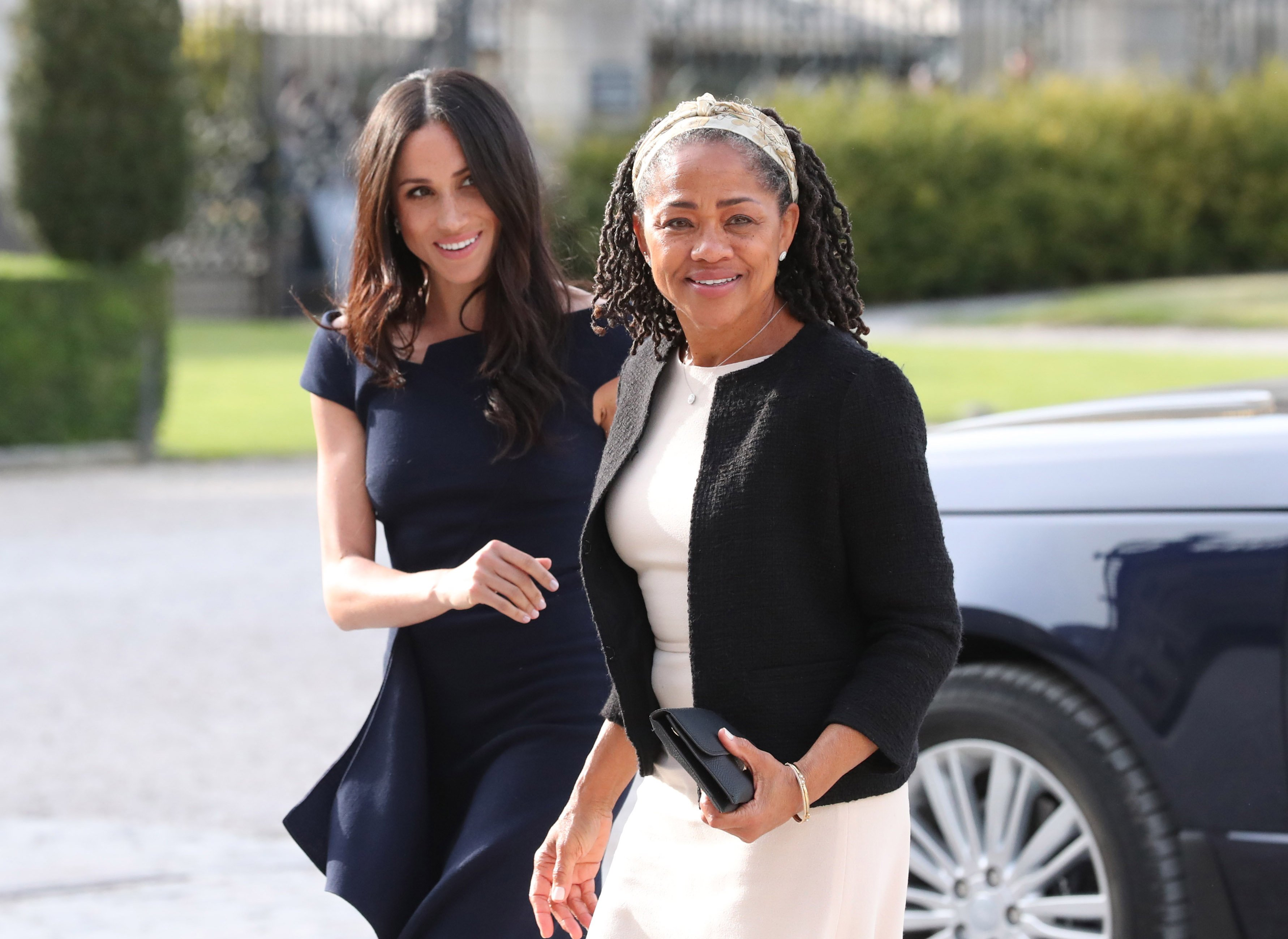 Meghan Markle and her mother, Doria Ragland arrive at Cliveden House Hotel on May 18, 2018 in Berkshire, England. | Source: Getty Images.