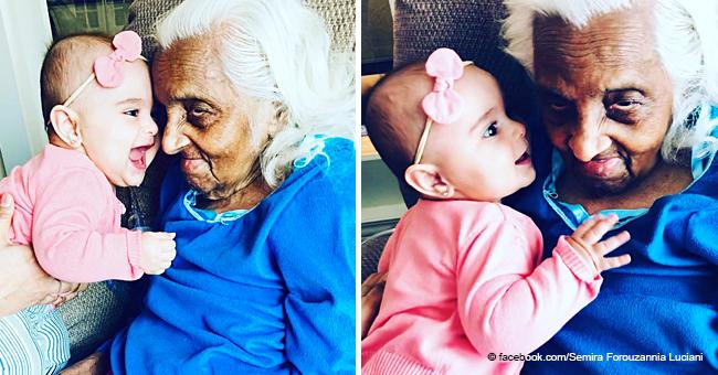 6 Monate altes Baby überglücklich, ihre Urgroßmutter zum ersten Mal zu treffen