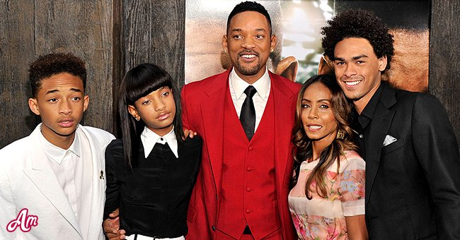 Will Smith, his wife Jada Pinkett Smith and their three kids, Trey, Jaden and Willow. | Source: Getty Images