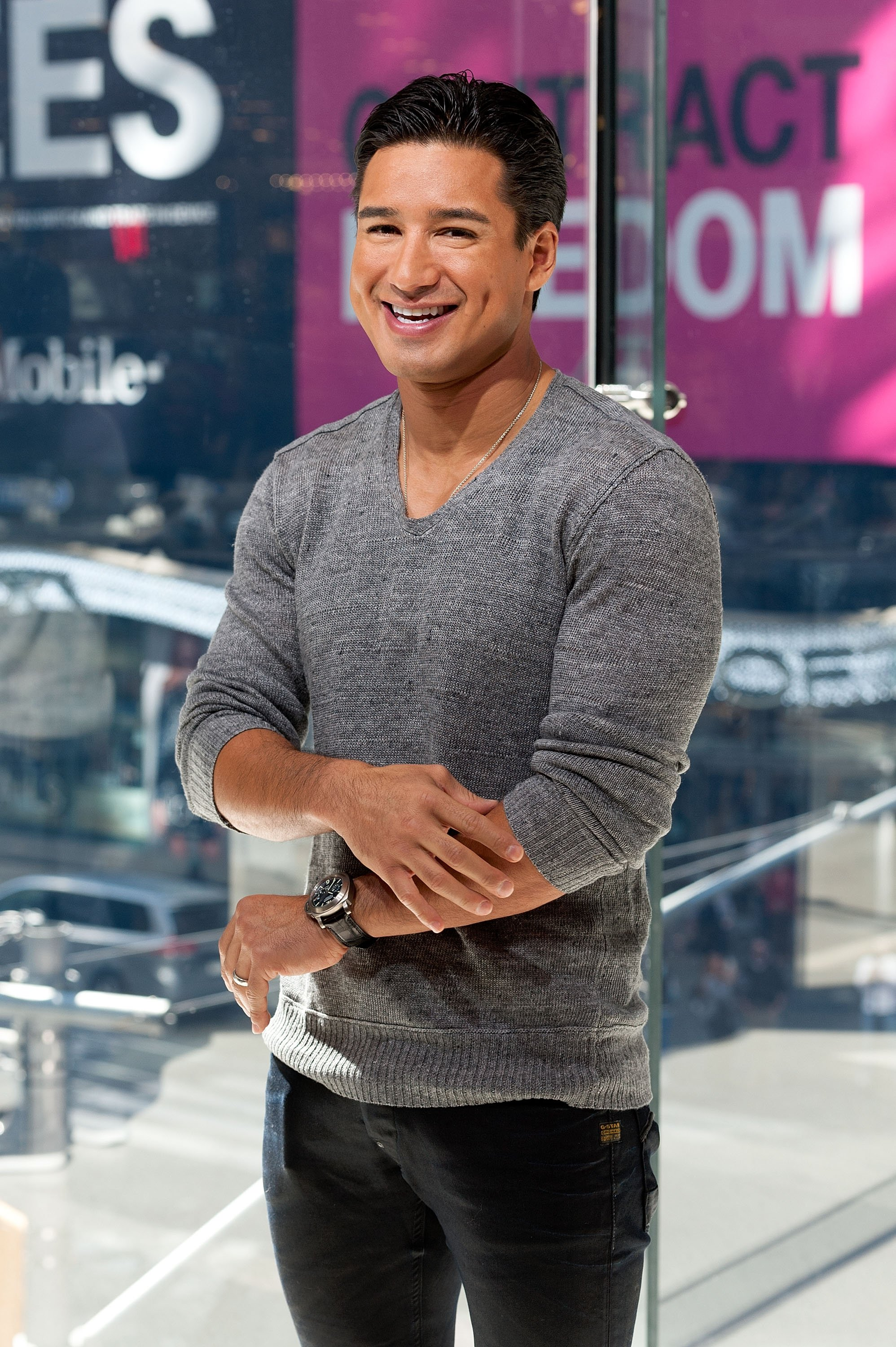 "Mario Lopez hosts ""Extra"" in Times Square on October 6, 2014, in New York City. 