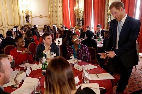 Prince Harry at a round table discussion with youths from across the commonwealth at the Lancaster House on January 30, 2019 | Photo: Getty Images