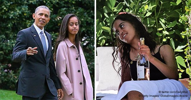 Underage Malia Obama caught drinking wine in tight black swimsuit with her friends