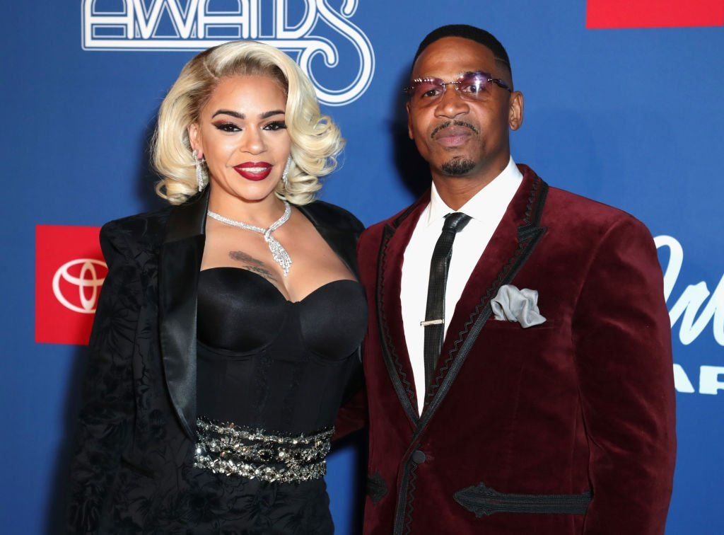 """LHHATL"" reality star Stevie J and Faith Evans attend the 2018 Soul Train Awards in Las Vegas, Nevada. 