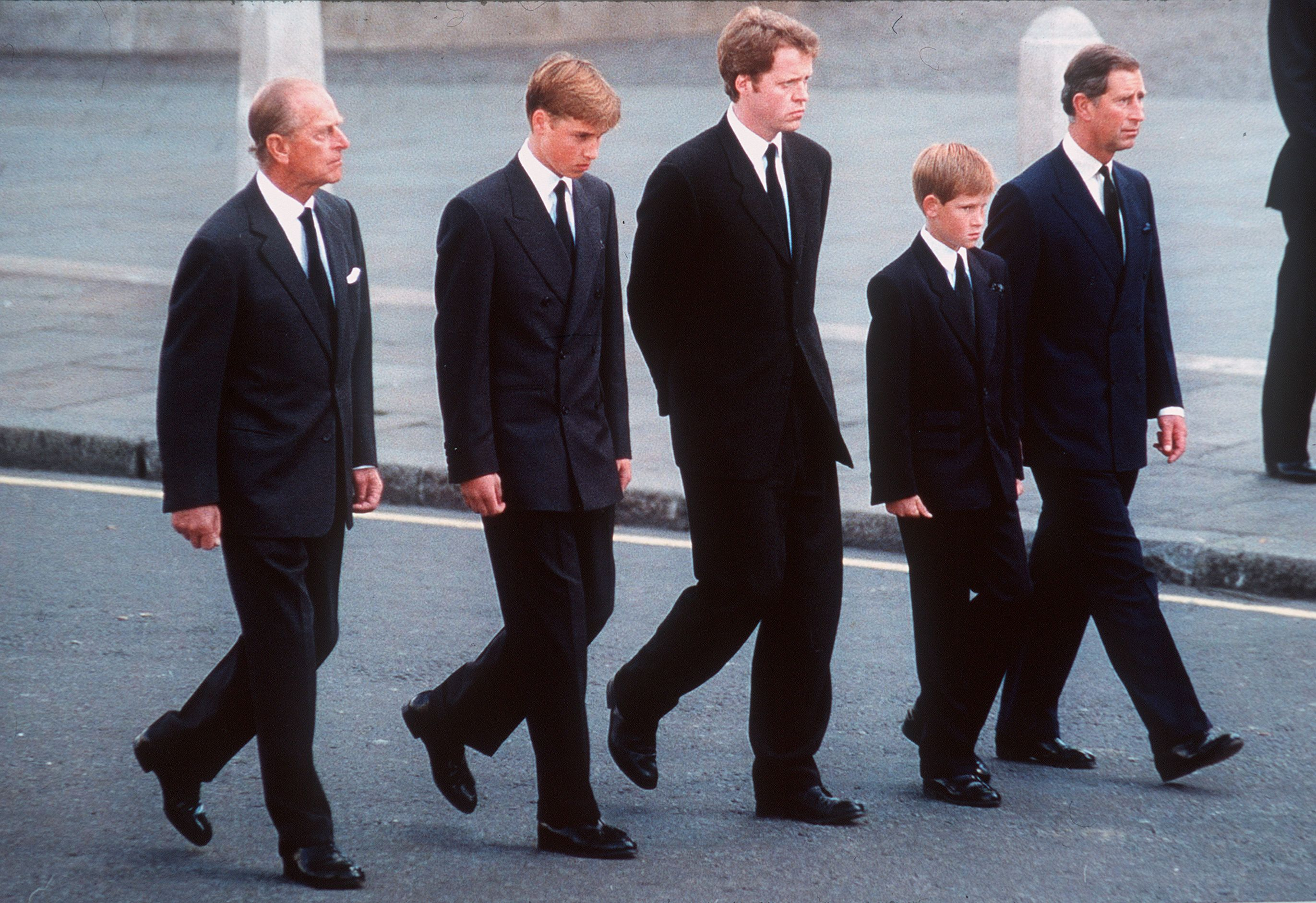 Late Prince Philip, Prince William, Earl Spencer, Prince Harry and Prince Charles, followed the coffin of late Princess Diana, in London, England on September 6, 1997   Photo: Getty Images