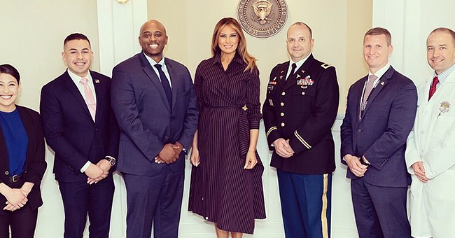 Melania Trump Visited Wounded Soldiers at Walter Reed to Present a Purple Heart