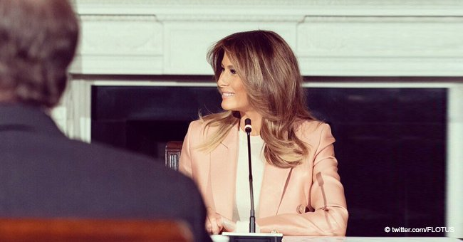 Melania Trump Looks like a Real Fashion Icon in this Unusual-for-Her Elegant Pink Suit