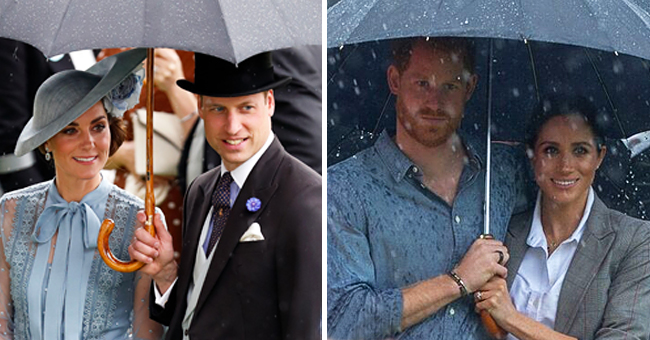 Prince William Shields Kate Middleton with an Umbrella in a Pose Reminiscent of Prince Harry & Meghan Markle