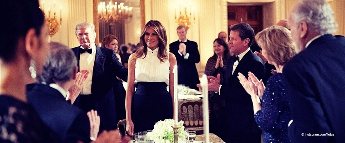 Melania Trump Draws Attention to Her Sleeveless White Top Matched with Flowing Black Pants