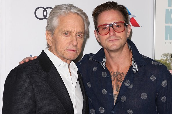 """Actors Michael Douglas (L) and Cameron Douglas (R) attend the 2018 AFI FEST world premiere screening of """"The Kominsky Method"""" at TCL Chinese Theatre on November 10, 2018 in Hollywood, California 