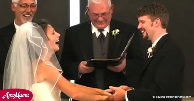 Bride cannot keep from hysterics after her groom screws up the wedding vows