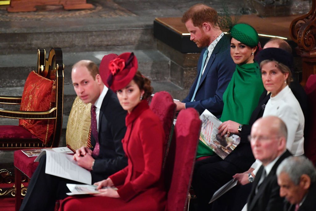 Prince William, Catherine, Prince Harry, Meghan, Prince Edward, and Sophie, attend the Commonwealth Day Service 2020 on March 9, 2020 in London, England. | Photo: Getty Images