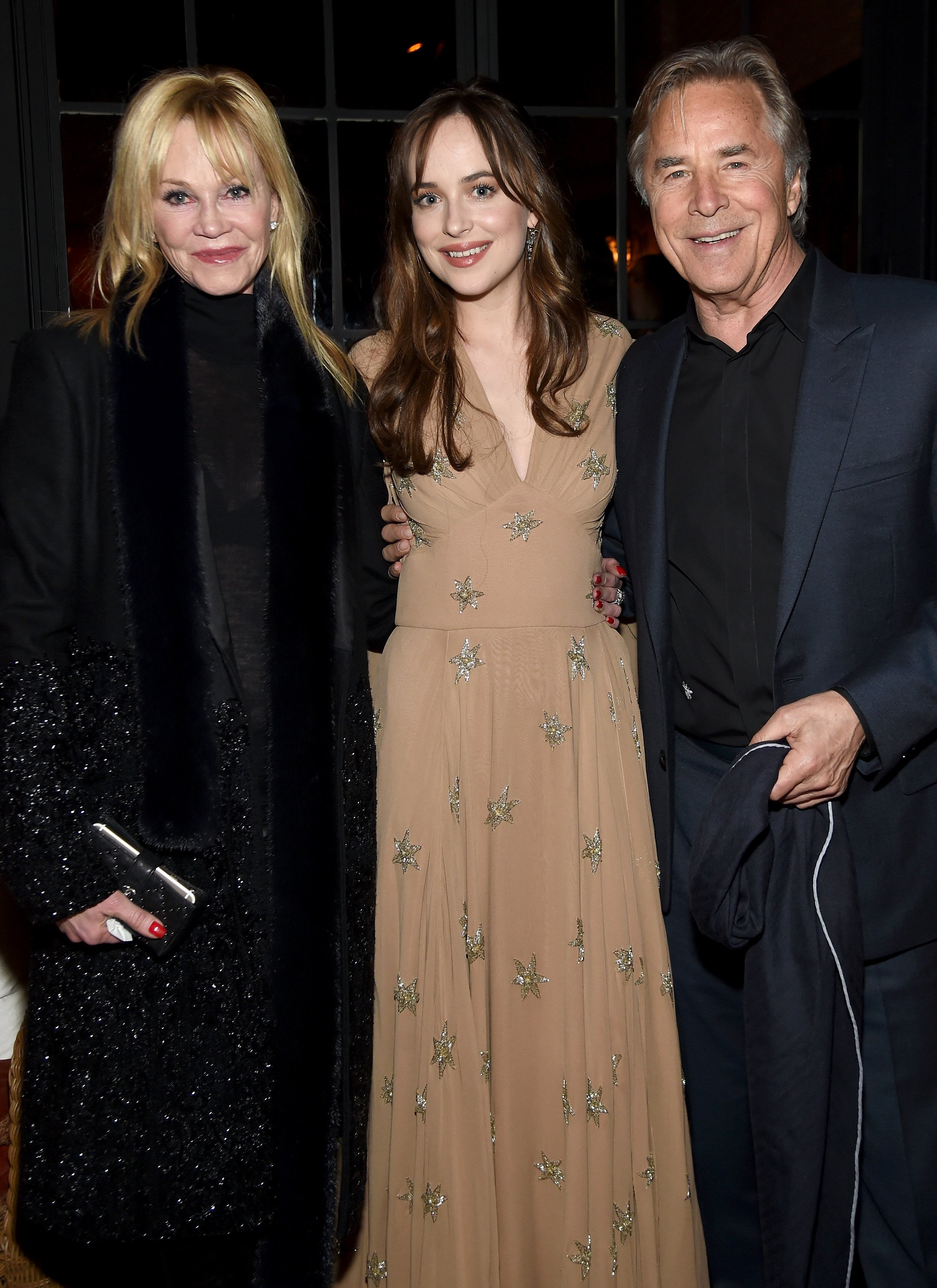 Melanie Griffith, Dakota Johnson, and Don Johnson attend an after party in New York City on February 3, 2016   Photo: Getty Images