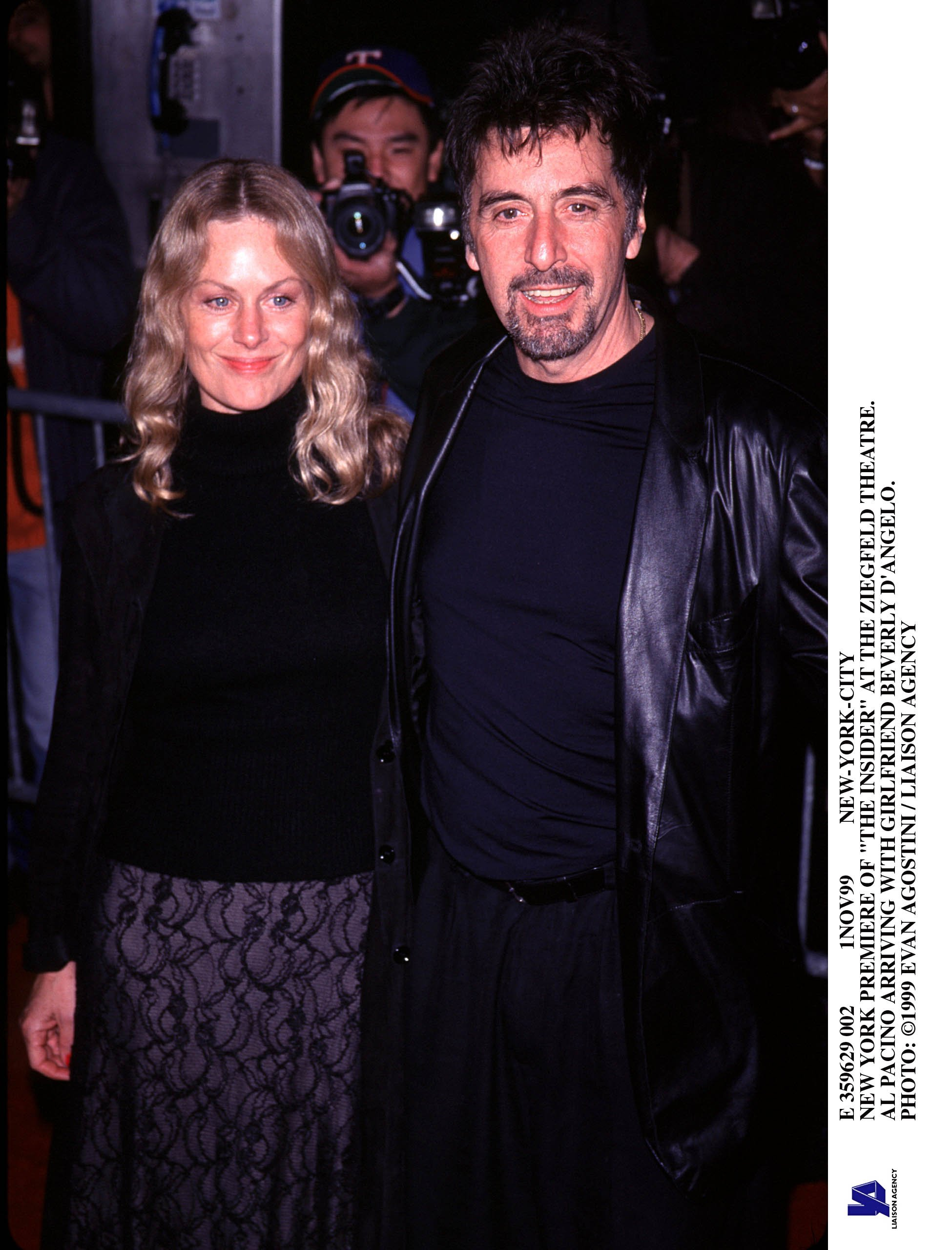 """Al Pacino with then-girlfriend Beverly D'Angelo at the New York Premiere Of """"The Insider"""" on November 1, 1999 
