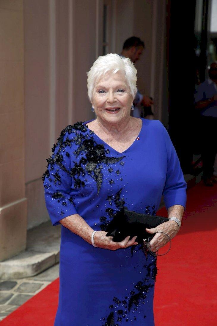 Line Renaud vêtue d'une somptueuse robe de soirée. l Source: Getty Images