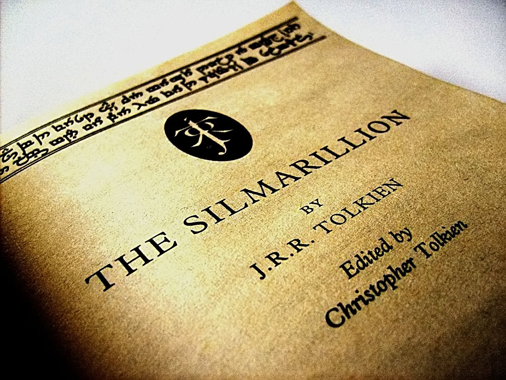 """The title page, of the book """"The Silmarillion"""" by J.R.R. Tolkien, edited and published by his son Christopher Tolkien. shared on April 2008 