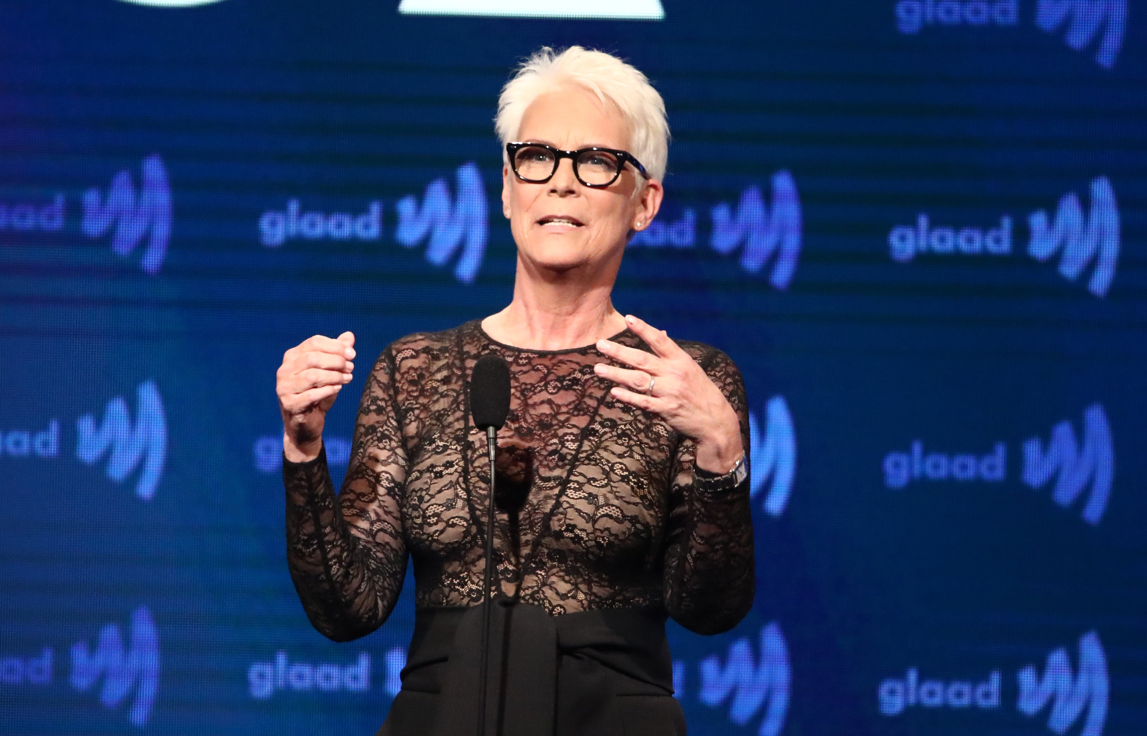Jamie Lee Curtis speaks on stage during the 30th Annual GLAAD Media Awards in Los Angeles at the Beverly Hilton Hotel on March 28, 2019. | usage worldwide  Photo: Getty Images