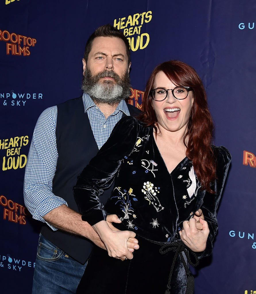 """Nick Offerman and Megan Mullally attend the """"Hearts Beat Loud"""" New York Premiere at Pioneer Works  