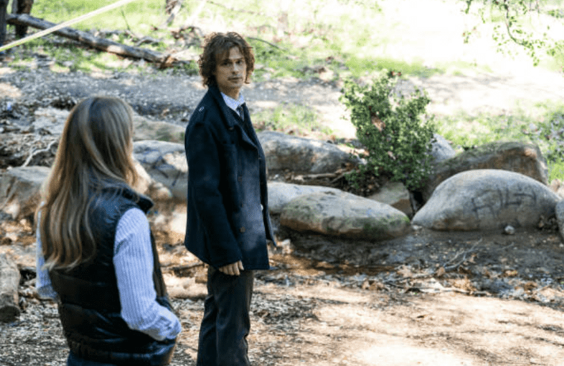 """A.J Cook and Matthew Gray Gubler'sshoot a scene near a river for Criminal Minds season 14 for an episode titled """"Under The Skin,"""" on January 23, 2019 