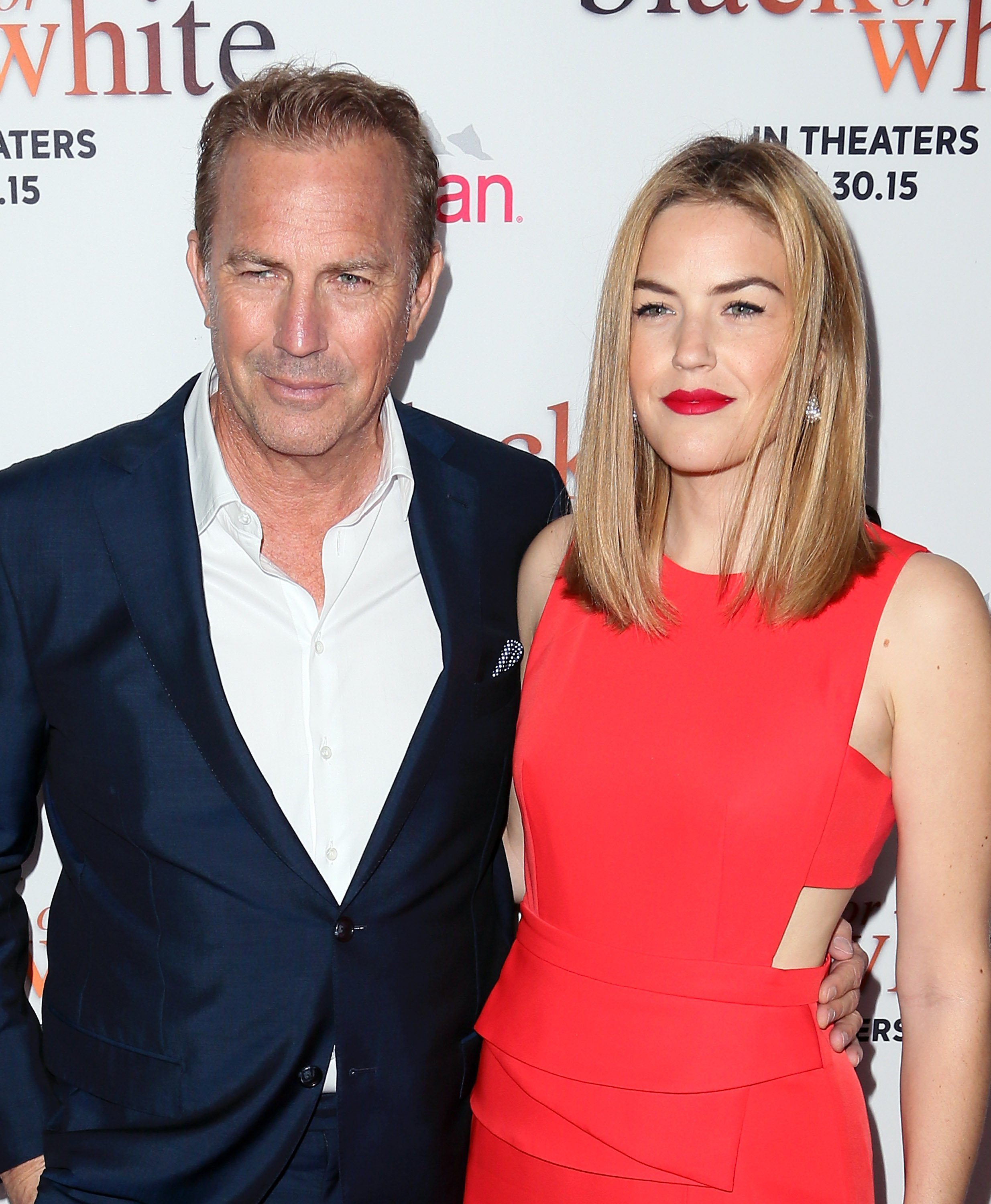 "Kevin Costner and daughter Lily Costner at the premiere of  ""Black or White"" on January 20, 2015. 