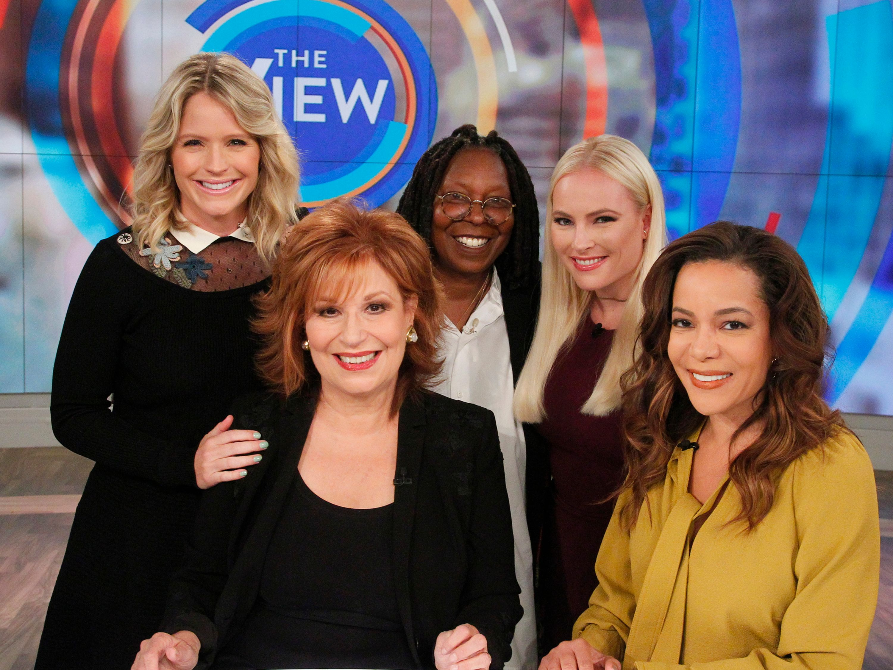 """Sara Haines, Whoopi Goldberg, Meghan McCain, Sunny Hostin, and Joy Behar on """"The View"""" in 2017   Photo: Lou Rocco/ABC/Getty Images"""
