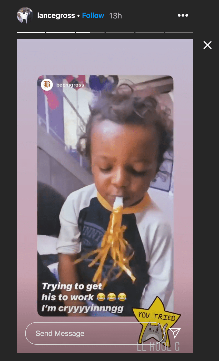 Lennon Lorin Gross blows on a party in a video of a quarantine celebration for her kindergarten graduation | Source: Instagram.com/lancegross