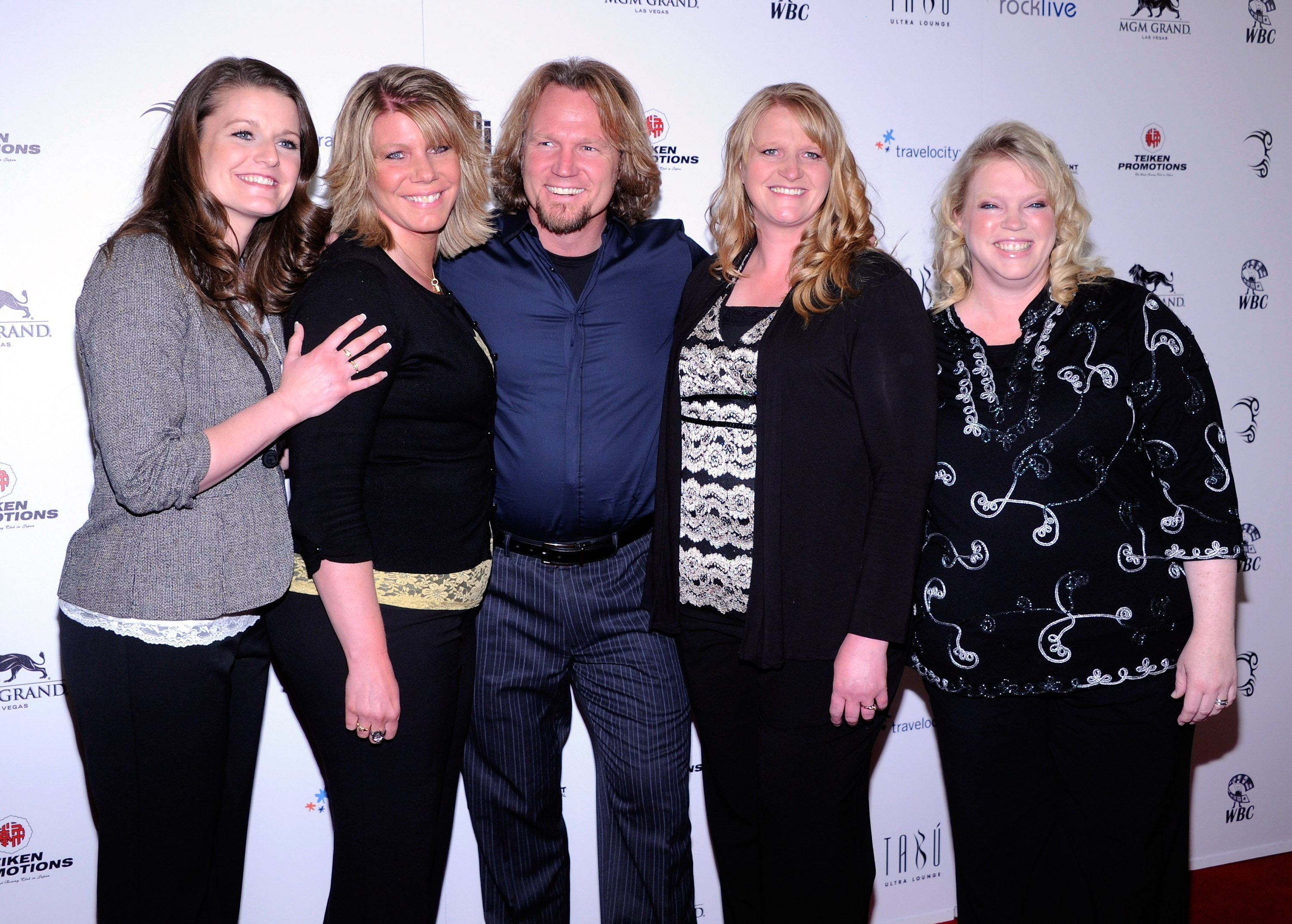 """Robyn Brown, Meri Brown, Kody Brown, Christine Brown and Janelle Brown from """"Sister Wives"""" pictured at  Mike Tyson's one-man show """"Mike Tyson: Undisputed Truth - Live on Stage,"""" 2012, Las Vegas. 