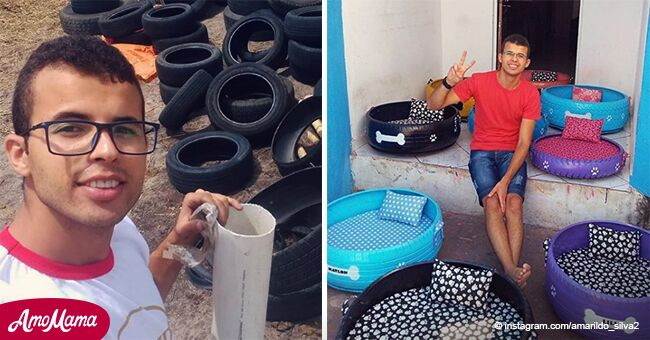Un jeune homme prend de vieux pneus et les transforme en plus beaux lits pour animaux