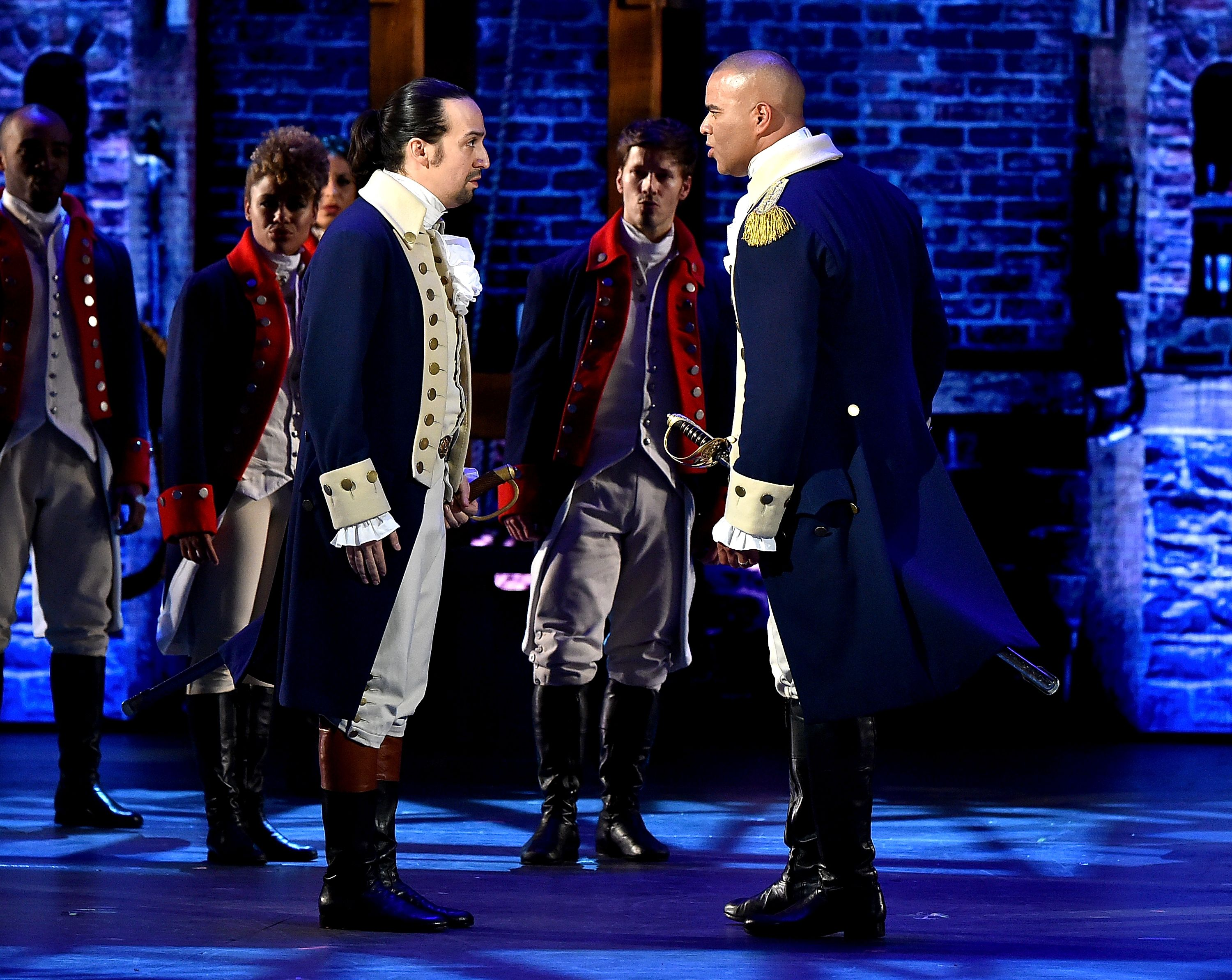 """Lin-Manuel Miranda and Christopher Jackson of """"Hamilton"""" onstage during the 70th Annual Tony Awards at The Beacon Theatre on June 12, 2016 in New York City.   Source: Shutterstock"""