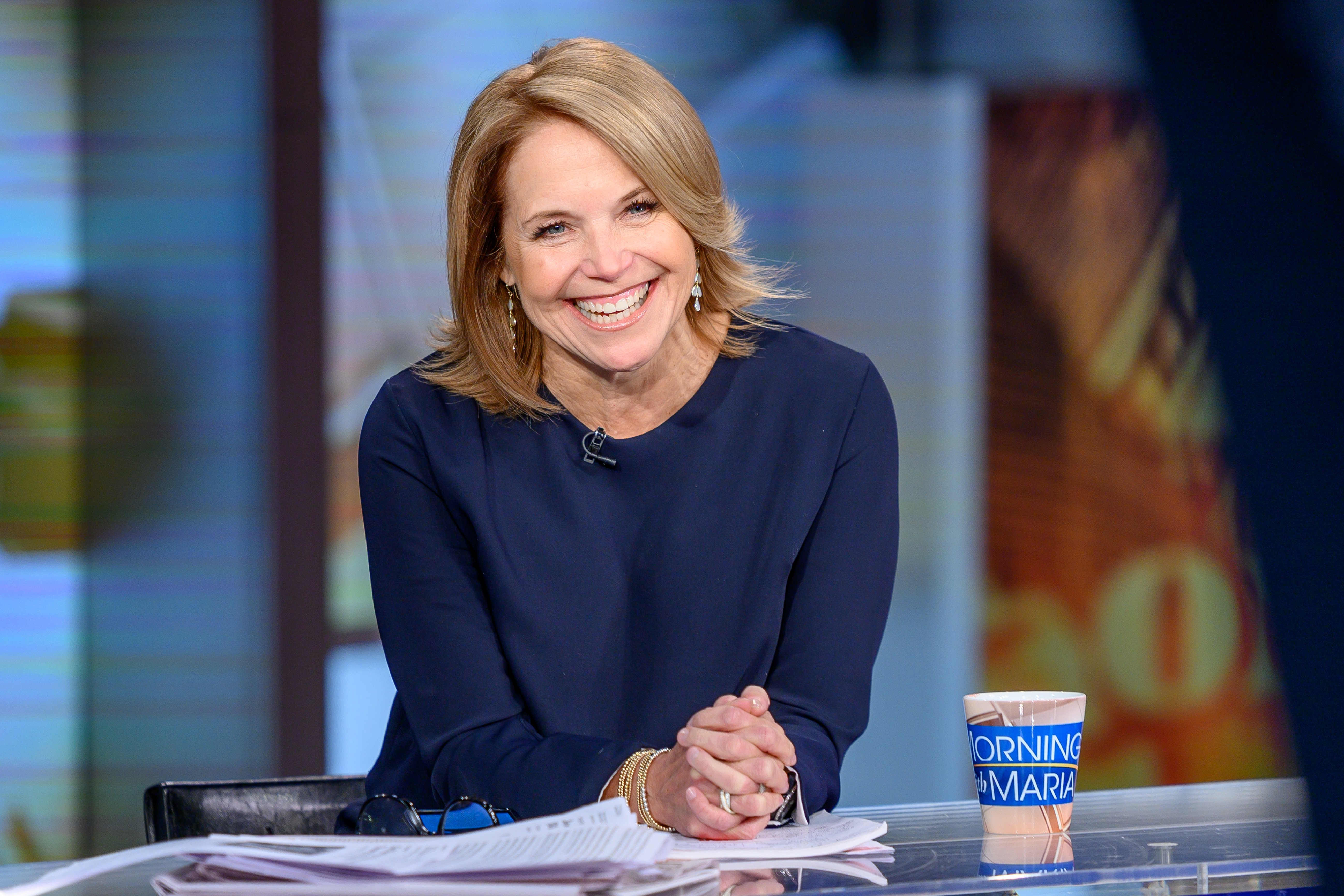 """Katie Couric pictured on """"Mornings With Maria"""" at Fox Business Network Studios, 2019, New York City. 