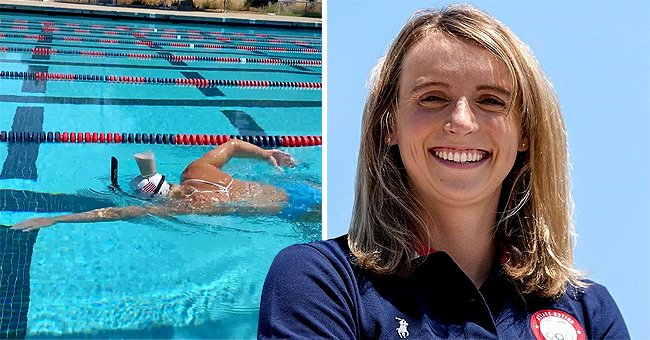 Olympian Katie Ledecky Swims Pool Length While Balancing Glass of Chocolate Milk on Her Head (Video)