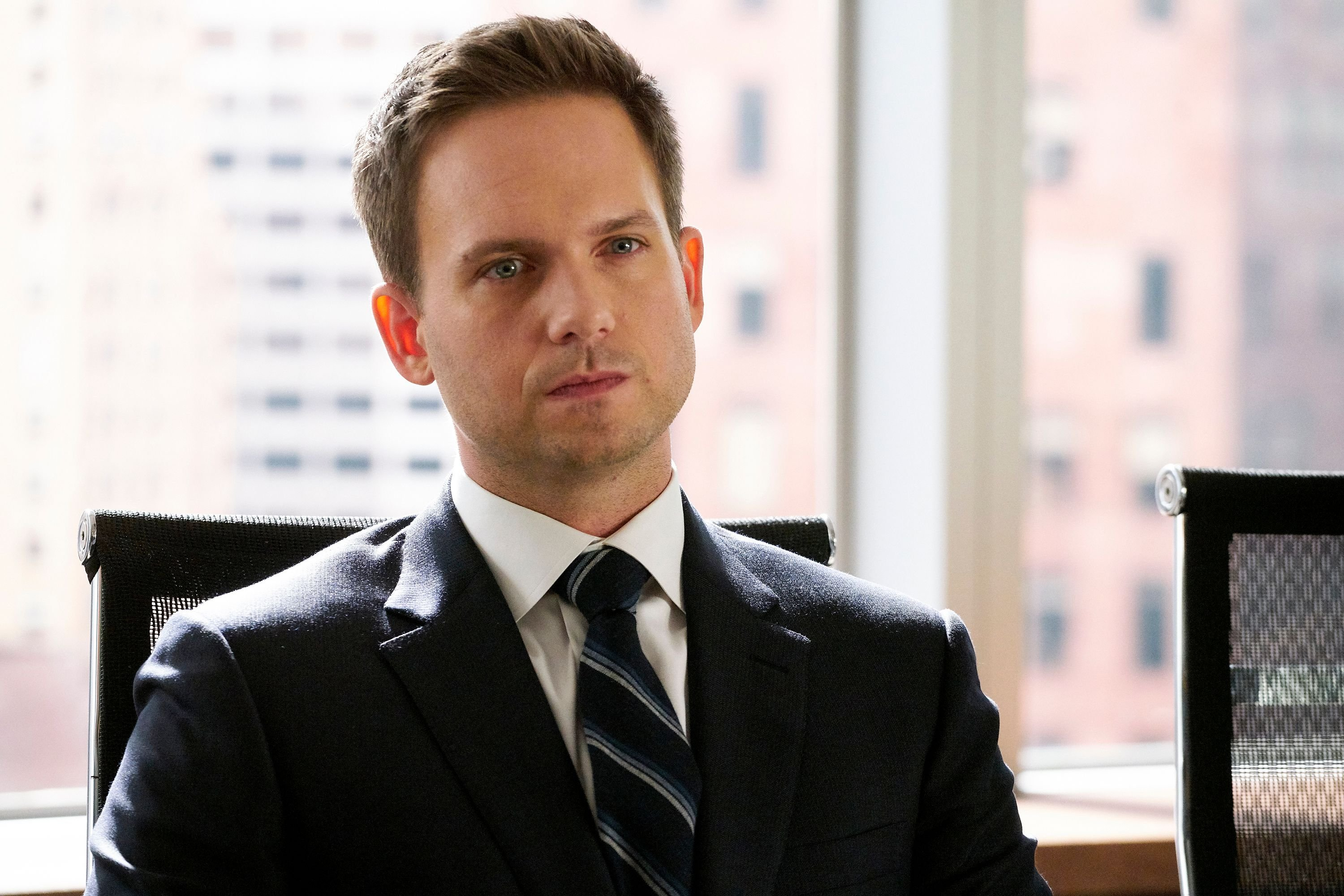 """Patrick J. Adams as Mike Ross on the set of """"Suits"""" 