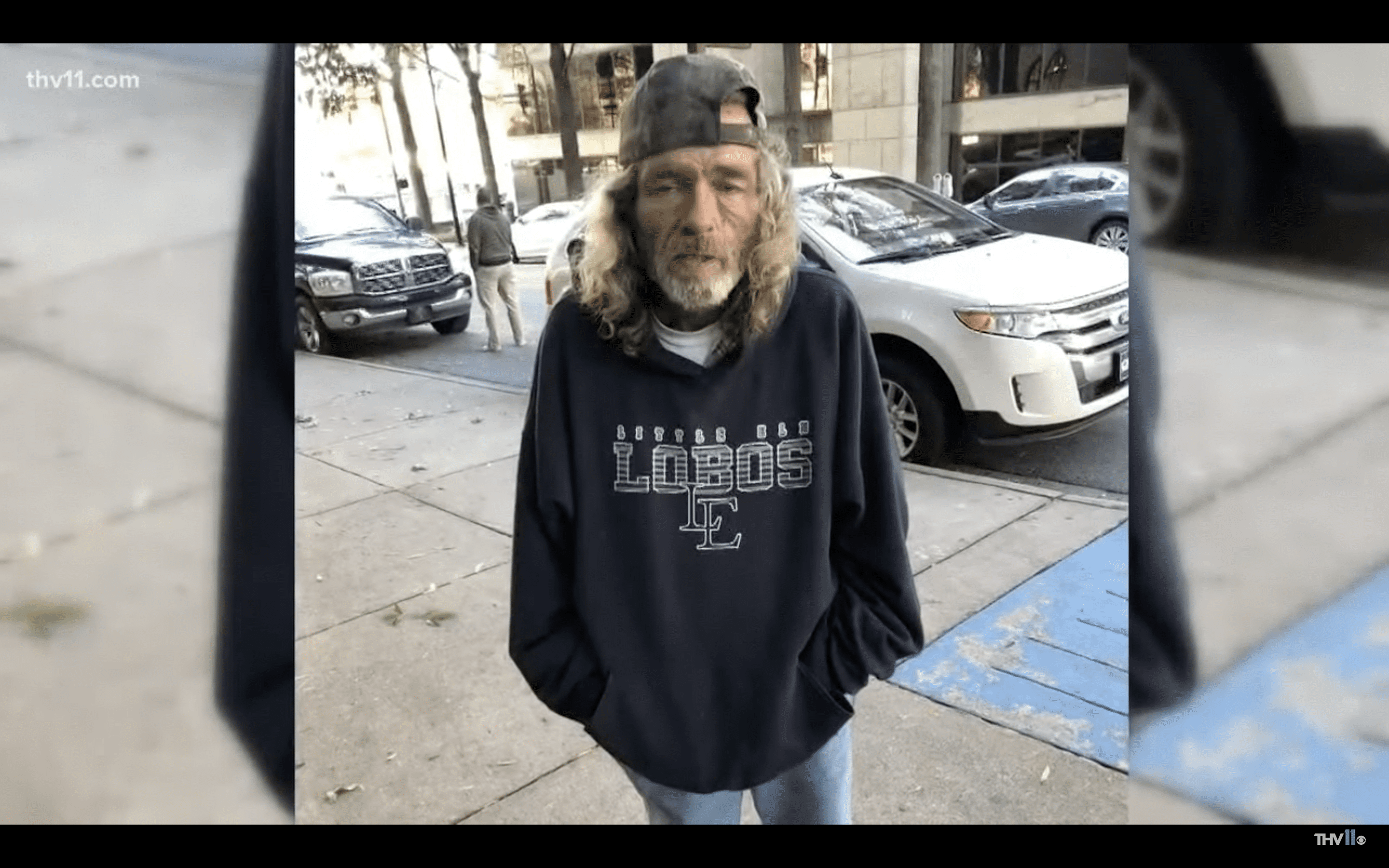 James pictured on the streets of Little Rock, Arkansas. | Photo: youtube.com/THV11