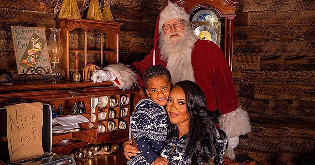 Angela Simmons Hugs Her Son Sutton Wearing Matching Deer-Print PJs in a Christmas Photo Shoot