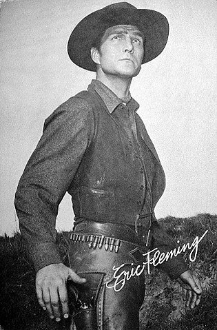 "Photo postcard of Eric Fleming from the television series ""Rawhide."" 