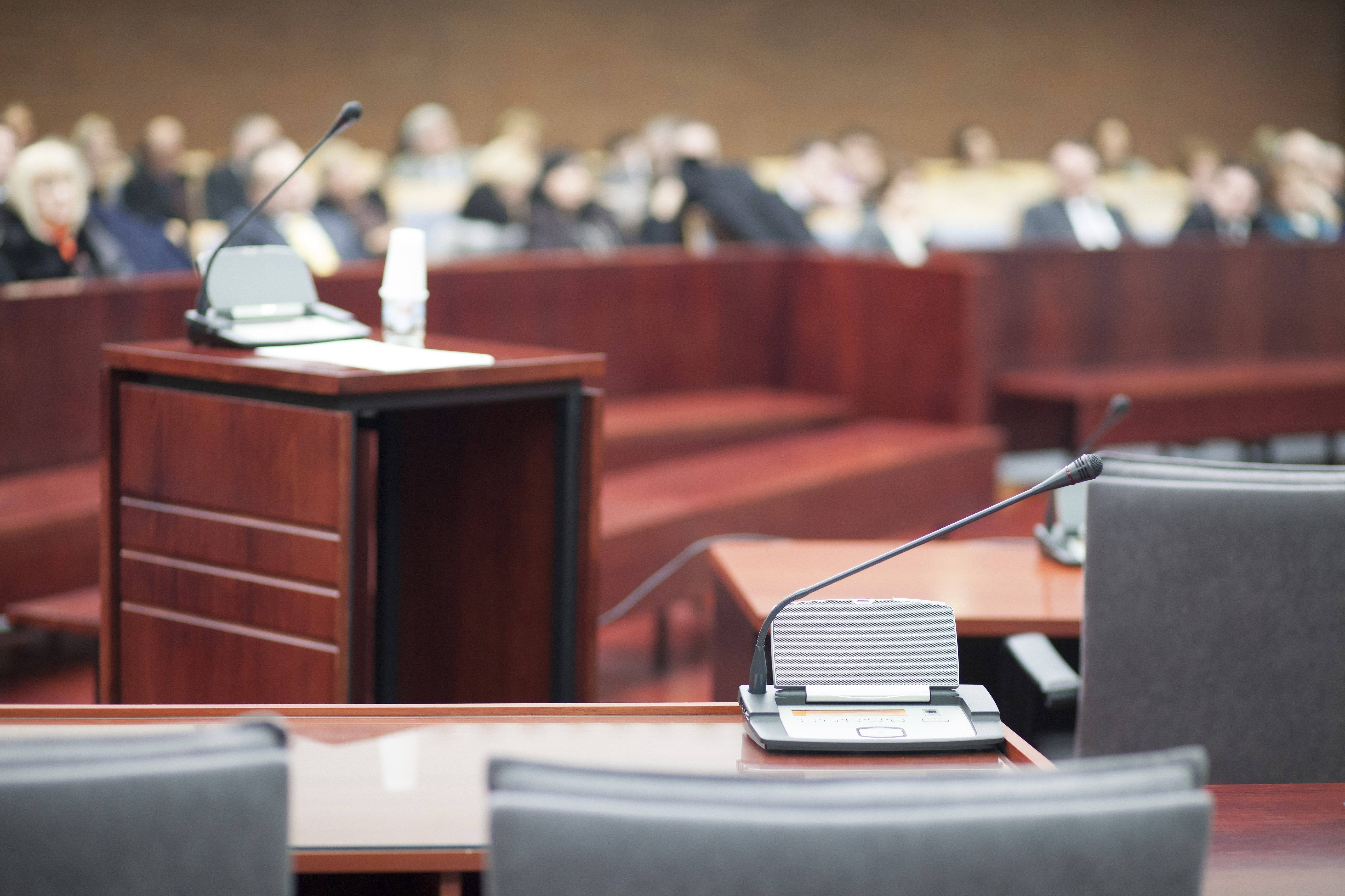 Witness stand in court. Image credit: Pixabay